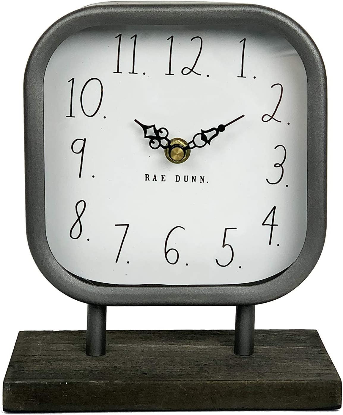 Rae Dunn Desk Clock - Battery Operated Modern Metal Rustic Design with Wooden Base for Bedroom, Office, Kitchen - Small Classic Analog Display - Chic Home Décor for Desktop Table, Countertop