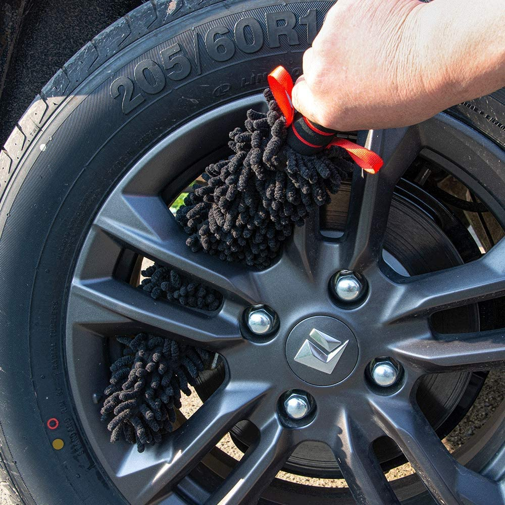 18 inch Flexible Soft Chenille Microfiber Rim Cleaner Brush 1x Replacement Chenille Cover + 1x Detailing Brush NO Rim Scratching NO Metal Parts Exposed Zebaexf Wheel Bursh Tire Brushes