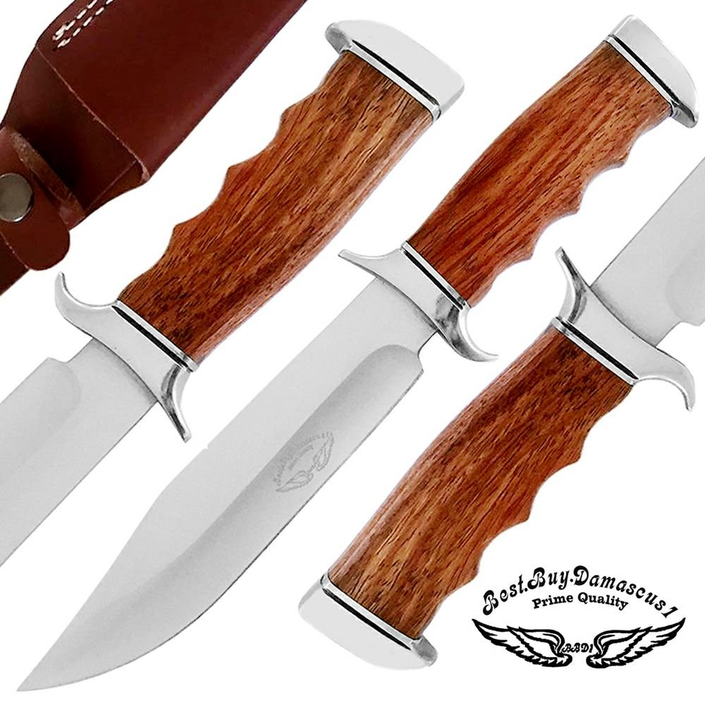 Best.Buy.Damascus1 Rose Wood 12'' Custom Handmade D2 Steel Hunting Knife with Brass Bolster Unique File Work Blade Back Edge & Bloster On it A Piece of Craftsmanship100% Prime Quality