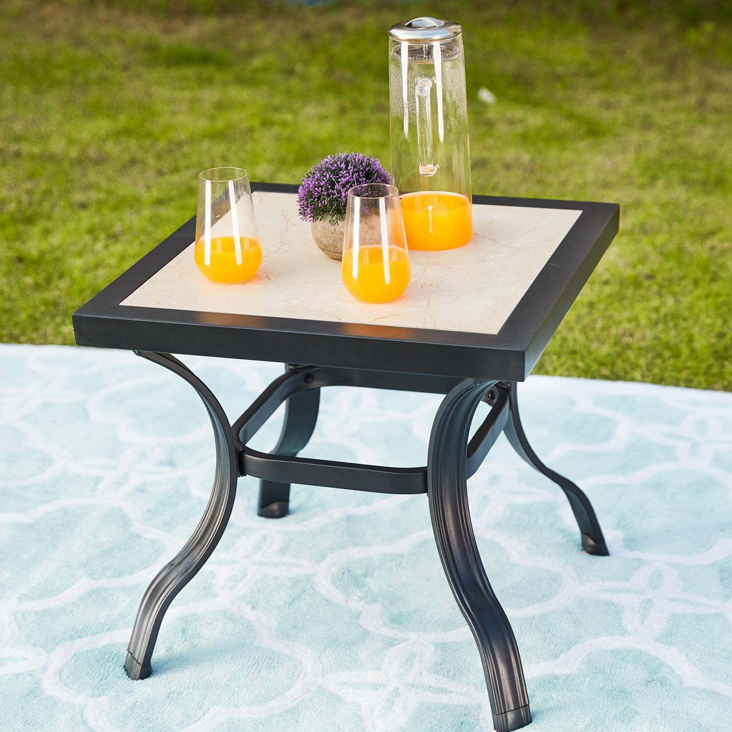 """Festival Depot 21"""" Metal Outdoor Side Table Patio Bistro Square Dining Table Off-White Ceramics Top with Steel Legs (20.9""""x 20.9""""x 19.7""""H)"""