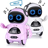 Abco Tech Interactive Mini Robot Toy Kids Toddlers - Robot Features Voice Recognition, Playback Entertainment Mode Build Flexible Arms