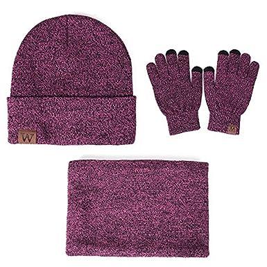 MIMINUO Sombreros de punto Bufanda Guante de Pantalla Táctil de Invierno Cálido 3 Unidades Set para Hombres Mujeres cálido… sITSXTcZ