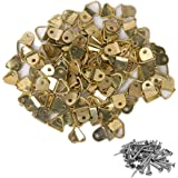 DIY Crafts 100 - Pcs Small Triangle D-Ring Picture Frame Hangers Single Hole with Screws for DIY Home Office DIY Works