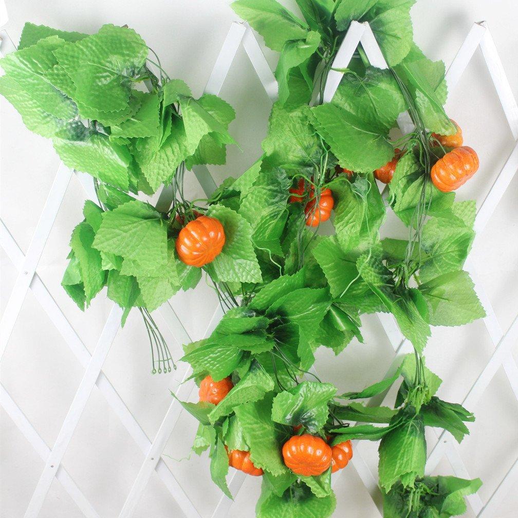 Mynse 5 Pieces 95'' Fake Fruit String Home Garden Fence Market Decoration Artficial Pumpkin and Vines