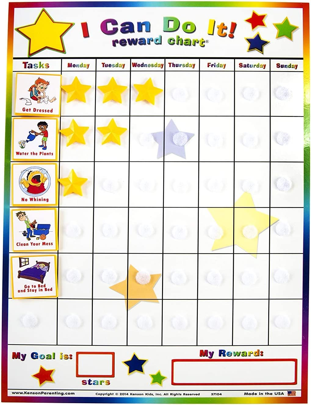 11 X 15.5-Inch-Limited edition I Can Do It Reward and Responsibility Chart