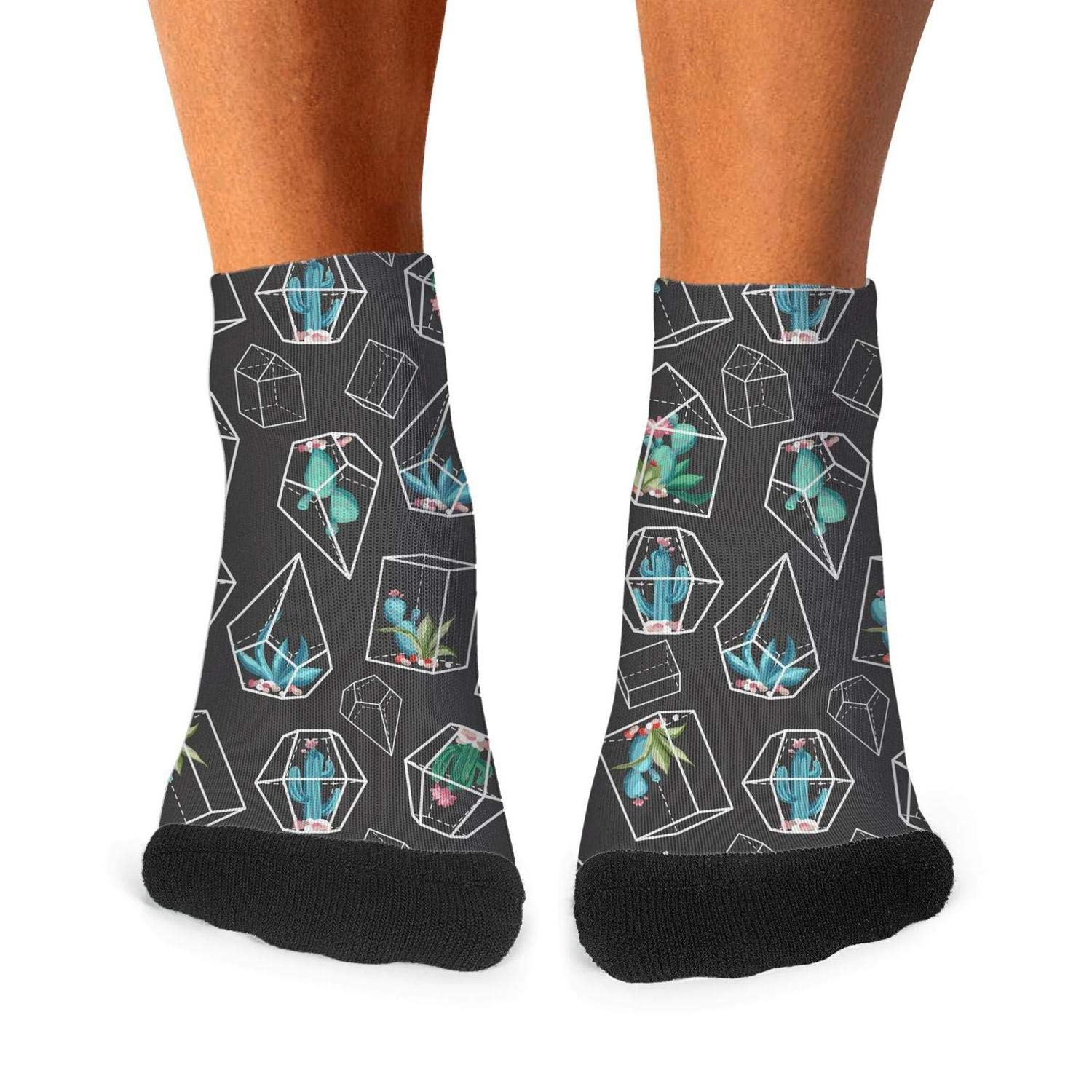 Mens athletic low cut Ankle sock cactus art container Short Breathable Sock