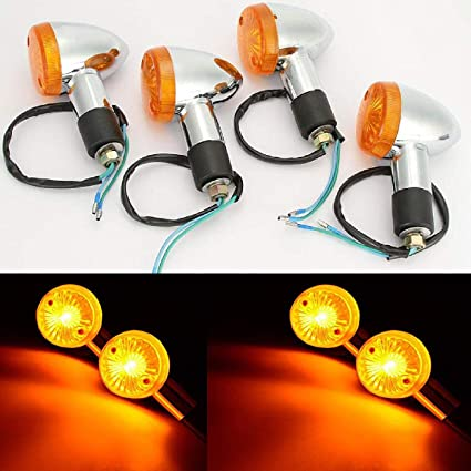 4x Motorcycle Chrome Bullet Turn Signal Light Blinker Indicator Amber For Yamaha