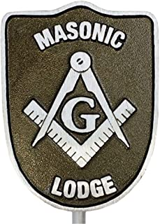 product image for Aluminum Grave Marker, Masonic Lodge, Cemetery Memorial Flag Holder, Mason Plaque, Made in USA
