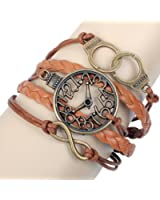 Real Spark(TM) Men Women Brown Braided Leather Wrap Multilayer Handcuffs Infinity Wristband Bracelets