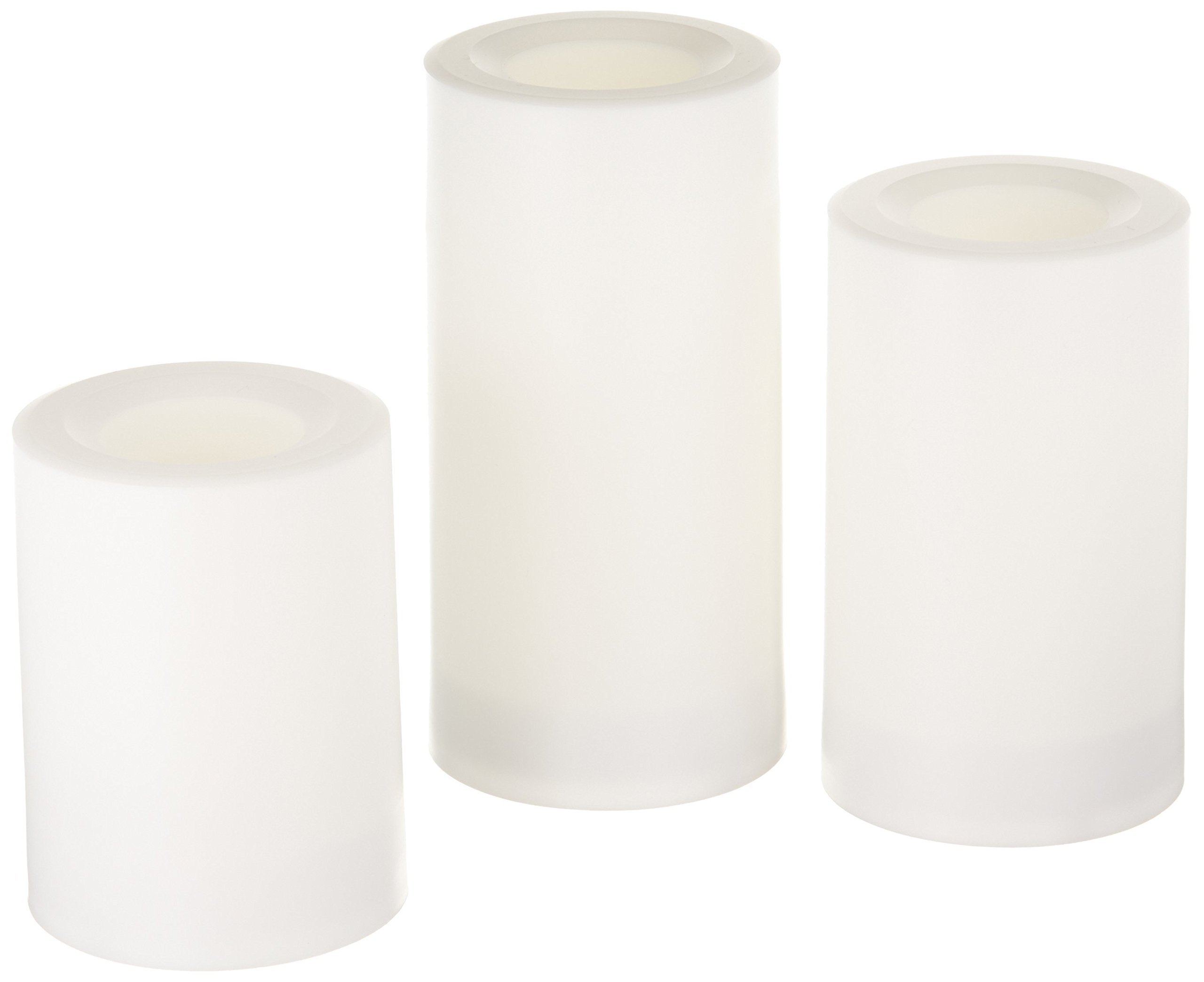 Inglow Flameless Round Outdoor Candles with Timer, White, Set of 3