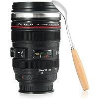 Flagicon Kaffeetasse mit Löffel, Kamera-Objektiv-Kaffeetassen Becher mit Deckel-Edelstahl