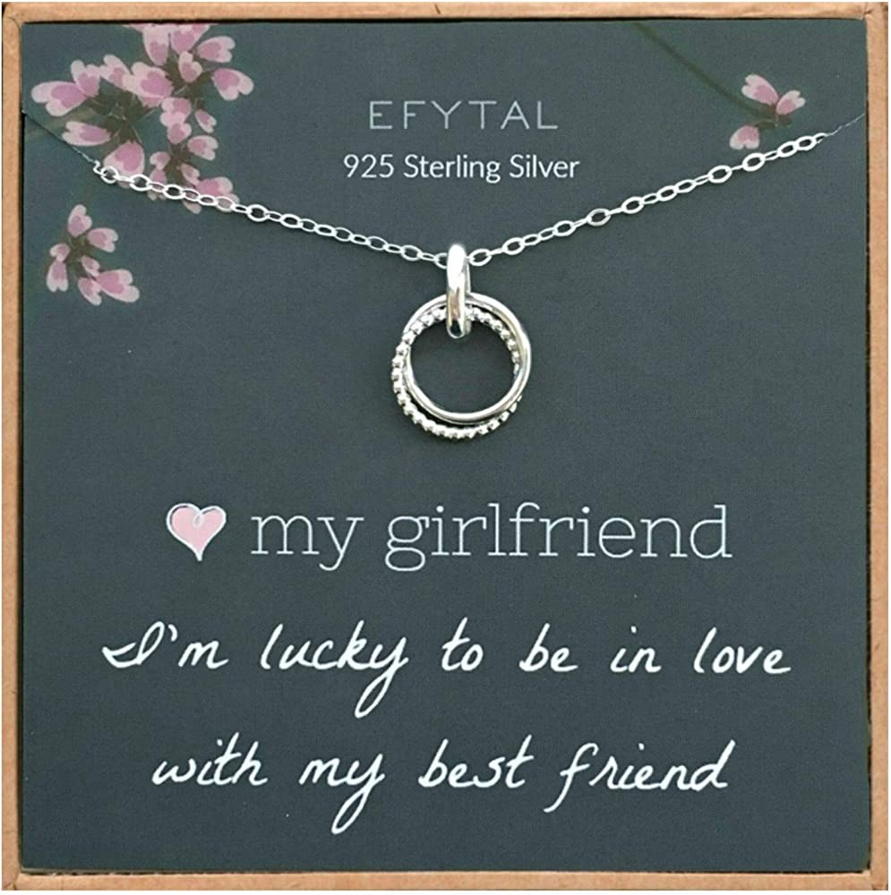 Anniversary to My Girlfriend Necklace Pendant Womens Gift Ideas Birthday AZ Gifts Gold Necklace Meaningful Gift for Your Love I Just Want to Make You Happy