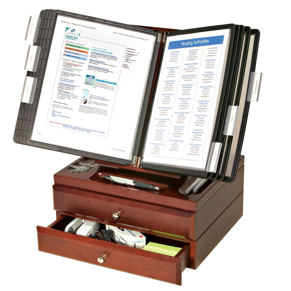 Ultimate Office WoodWorx 10-Pocket Desk Reference Organizer w/ 2 Supply Drawers, (Black w/ Black Pockets)