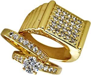 ea7237fb758623 wayne store Set 18k Gold Filled Lovers Mens Womens Wedding Engagement Party  Ring Band Size 5