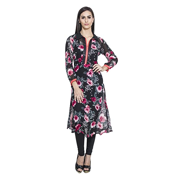 967dd0a9a8e Ninikart Women s Black and Multicolor Floral Printed Georgette Kurta  (NKK11004 XS)