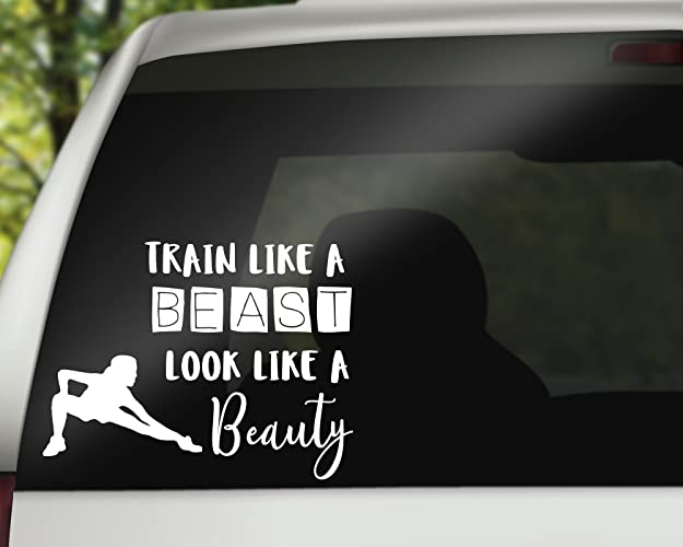 Train like a beast vinyl car decal fun bumper sticker gift gym theme