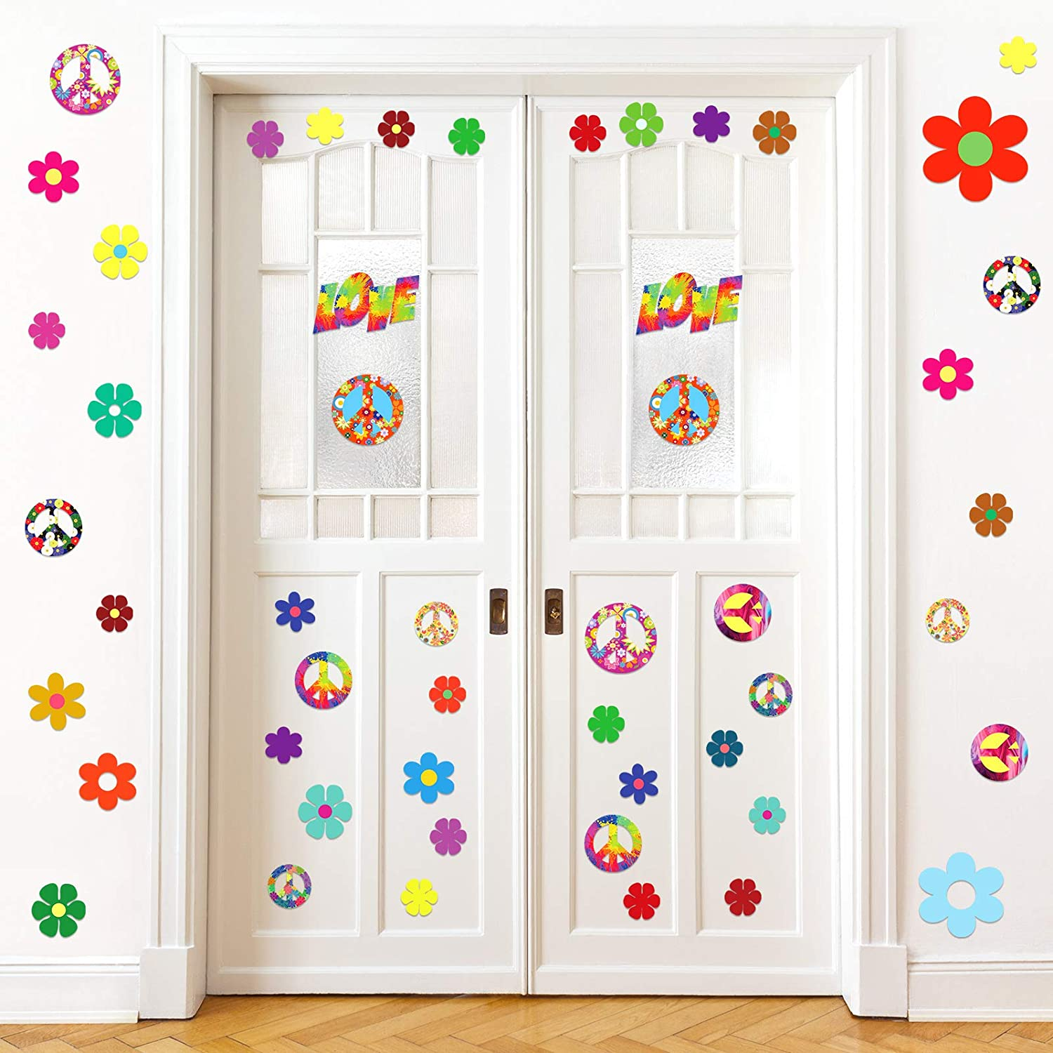 8 Sheets 60s Hippie Theme Party Sticker Retro Flower Stickers 60s Hippie Theme Party Retro Sun Flower Car Stickers Flowers Peace Sign Decals Colorful Hippie Decals for Laptops Skateboards Luggage