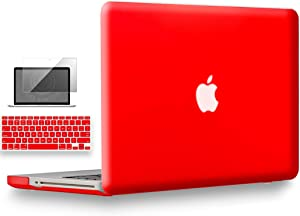 UESWILL 3in1 Smooth Matte Hard Shell Case Cover Compatible with MacBook Pro 13 inch with CD-ROM (Non-Retina) (Model A1278) + Keyboard Cover and Screen Protector + Microfibre Cleaning Cloth, Red
