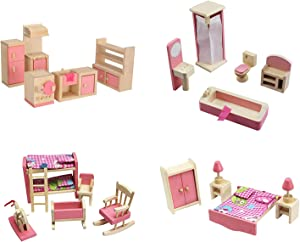 Kisoy Wooden Dollhouse Furniture Set for Kid and Children (4 PCS Including Kitchen Bathroom Bedroom High and Low Bed)