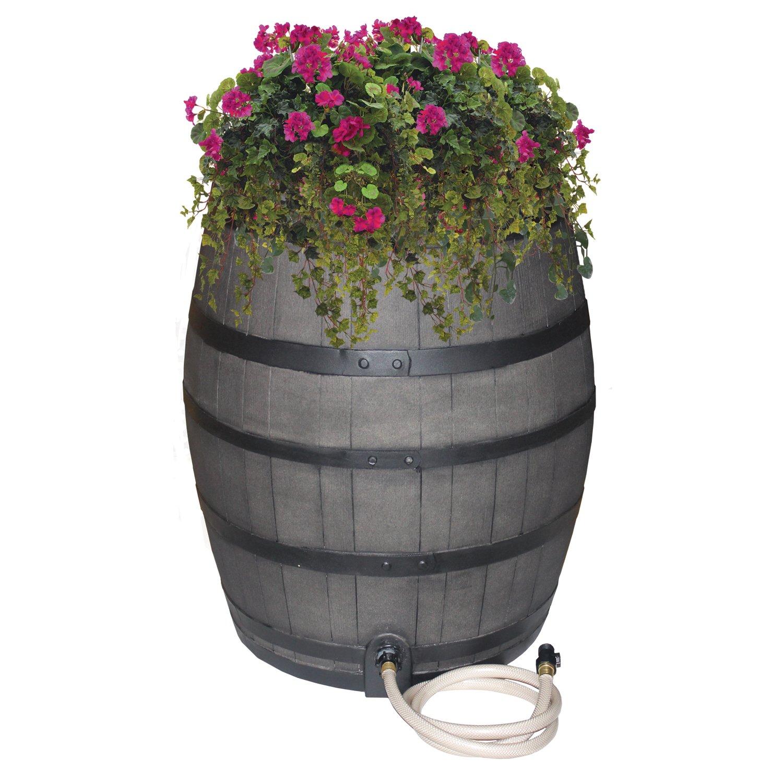 EMSCO Group Rescue 50-Gallon Whiskey Rain Barrel – Includes Planter, Rain Water Diverter, Outlet Hose – Flatback Design – Gray