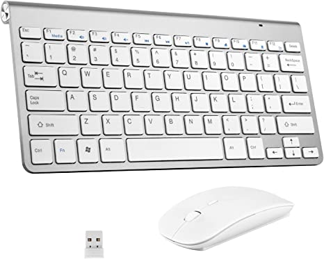 Wireless Keyboard and Mouse Combo Silent Click Inphic Rechargeable Wireless Mouse and Keyboard Combo Set with 2.4GHz USB Nano 65/% Size-Gray