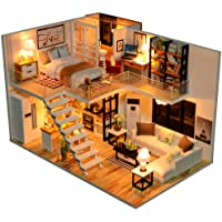 Dollhouse Miniature with Furniture, DIY Dollhouse Kit Plus Dust Proof and Music Movement, 1:24 Scale Creative Room for…