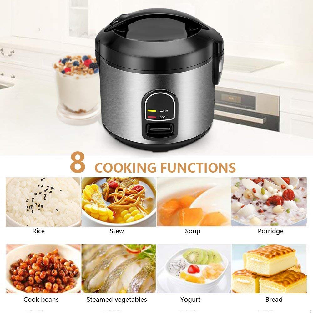 Small Rice Cooker Food Steamer, Home Gizmo 5-Cup (Uncooked) Mini Rice Cooker Multi-Food Steamer for Grains and Hot Cereal with One-Touch Control and Automatic Keep Warm Function by Home Gizmo (Image #4)