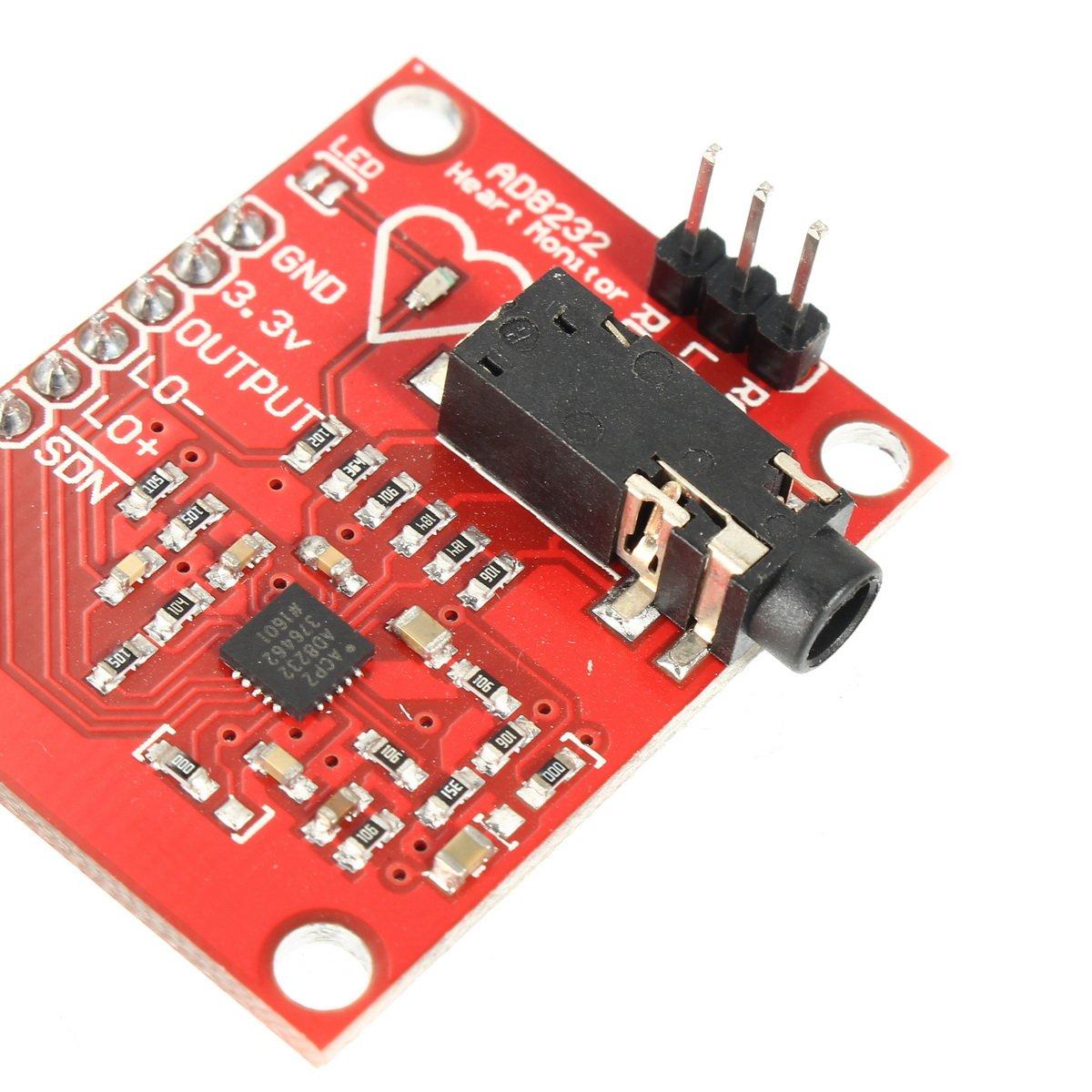ILS DC 3.3V AD8232 ECG Measurement Module Kit Portable Heart Monitor Biological