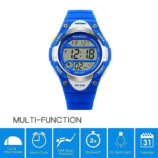 Gryiyi - Reloj deportivo digital con LED, resistente al agua hasta 50 m, ideal para niños y niñas, 0.07 pounds, color 1.Blue (with No Hand): Amazon.es: ...