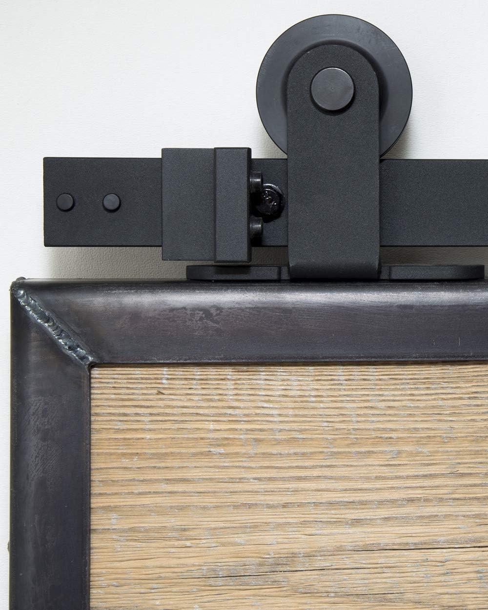 Sistema de puerta corredera superior de 200 cm. Juego completo con ruedas y riel. Sistema de puerta corredera superior de 2 metros - Top black