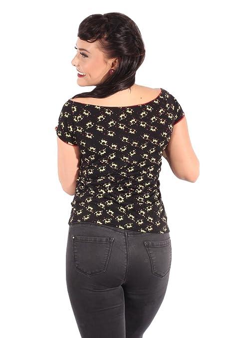SugarShock Damen retro fifties Martiniglas Pin up rockabilly Sterne  Schleifen T-Shirt: Amazon.de: Bekleidung