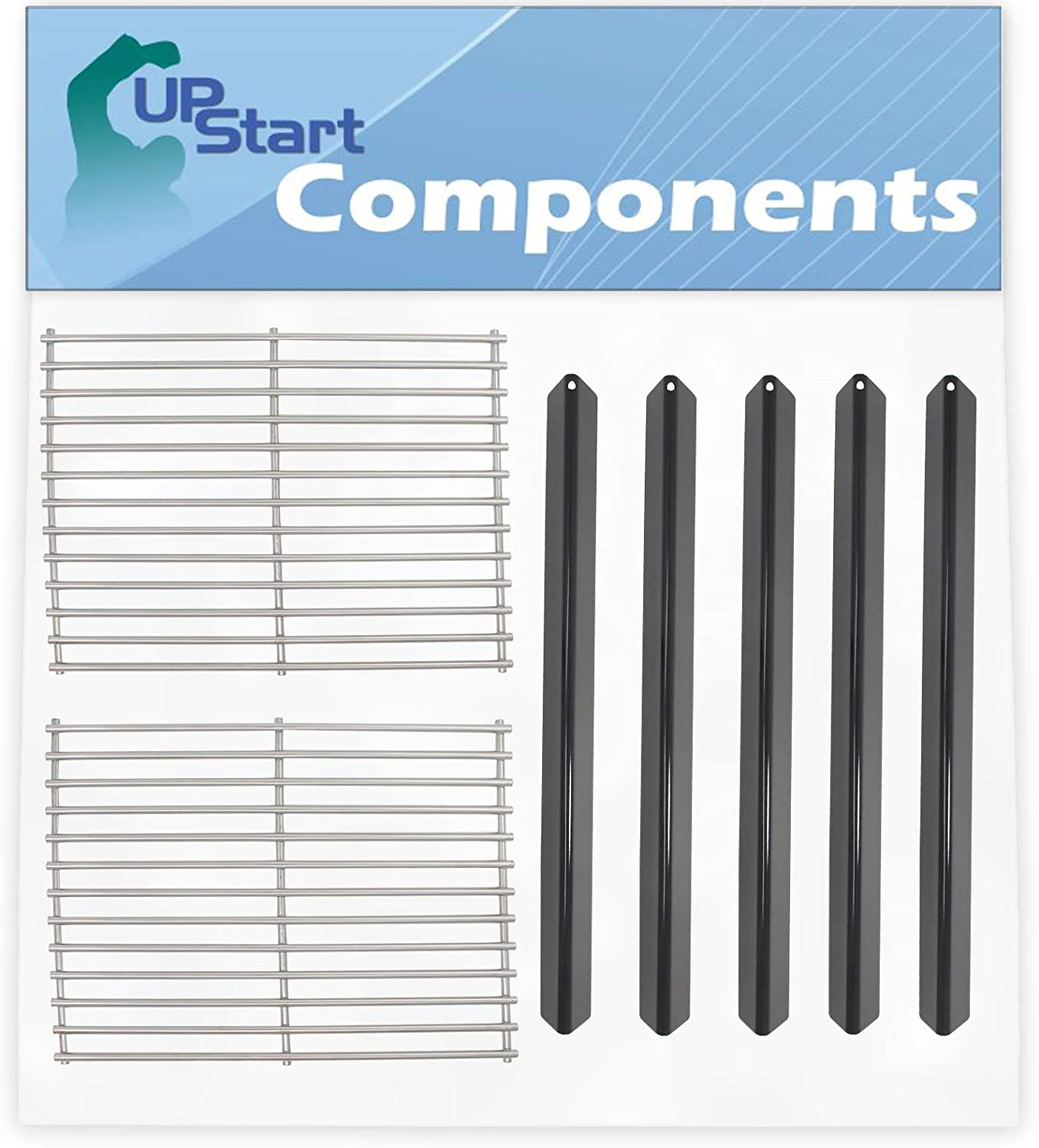 """5 BBQ Grill Heat Shield Plate Tent & 2 Cooking Grates Replacement Parts for Weber GENESIS SILVER A NG W/CAST IRON GRATES (2000-2001) - Stainless Steel Grid 15"""" & Porcelain Steel Flavorizer Bar 21.5"""""""