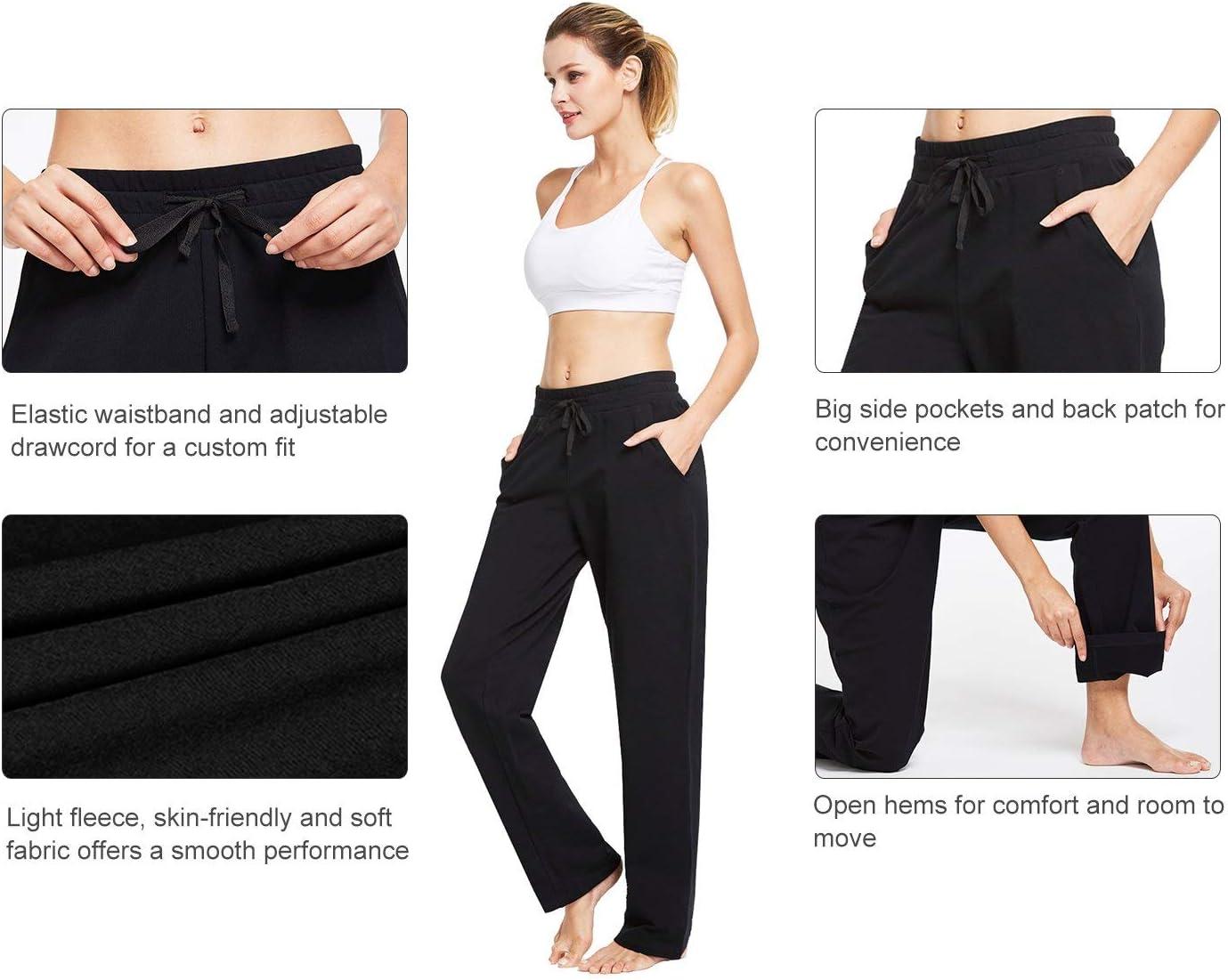 BALEAF Womens Active Yoga Sweatpants Slight Fleece Open Bottom Lounge Sweat Pants Jogger Side Pocketed