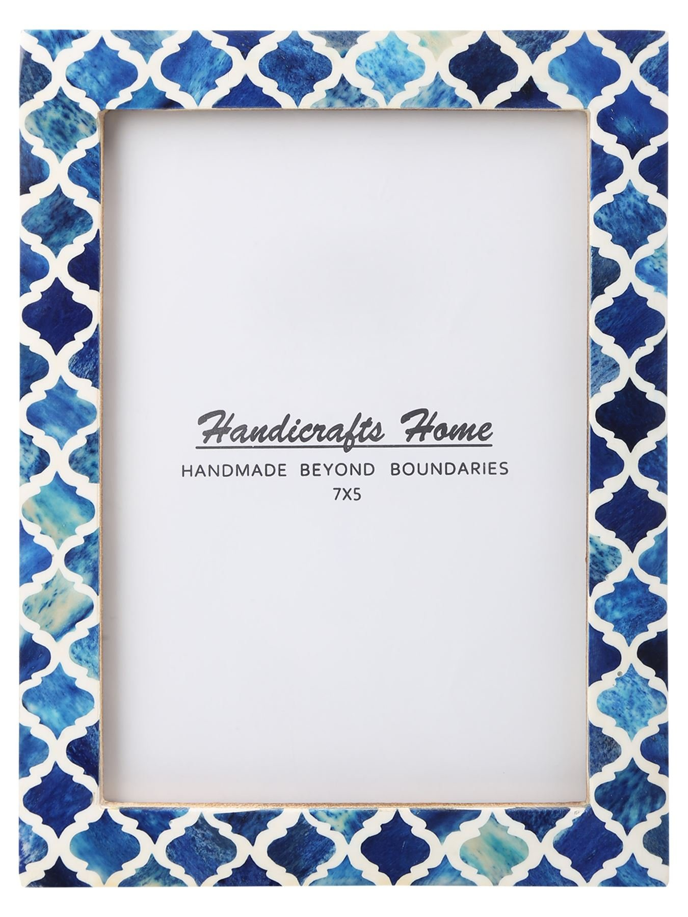 Handicrafts Home 5x7 Picture Photo Frame Moorish Damask Moroccan Art Inspired Vintage Wall Décor Gift Frames [5x7 BLUE]