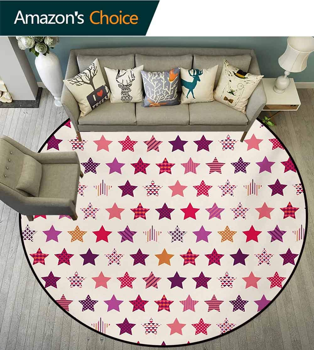 RUGSMAT Modern Modern Machine Round Bath Mat,Different Types of Star Shapes with Colorful Polka Dots Geometric Mosaic Ornaments Non-Slip No-Shedding Kitchen Soft Floor Mat,Round-47 Inch