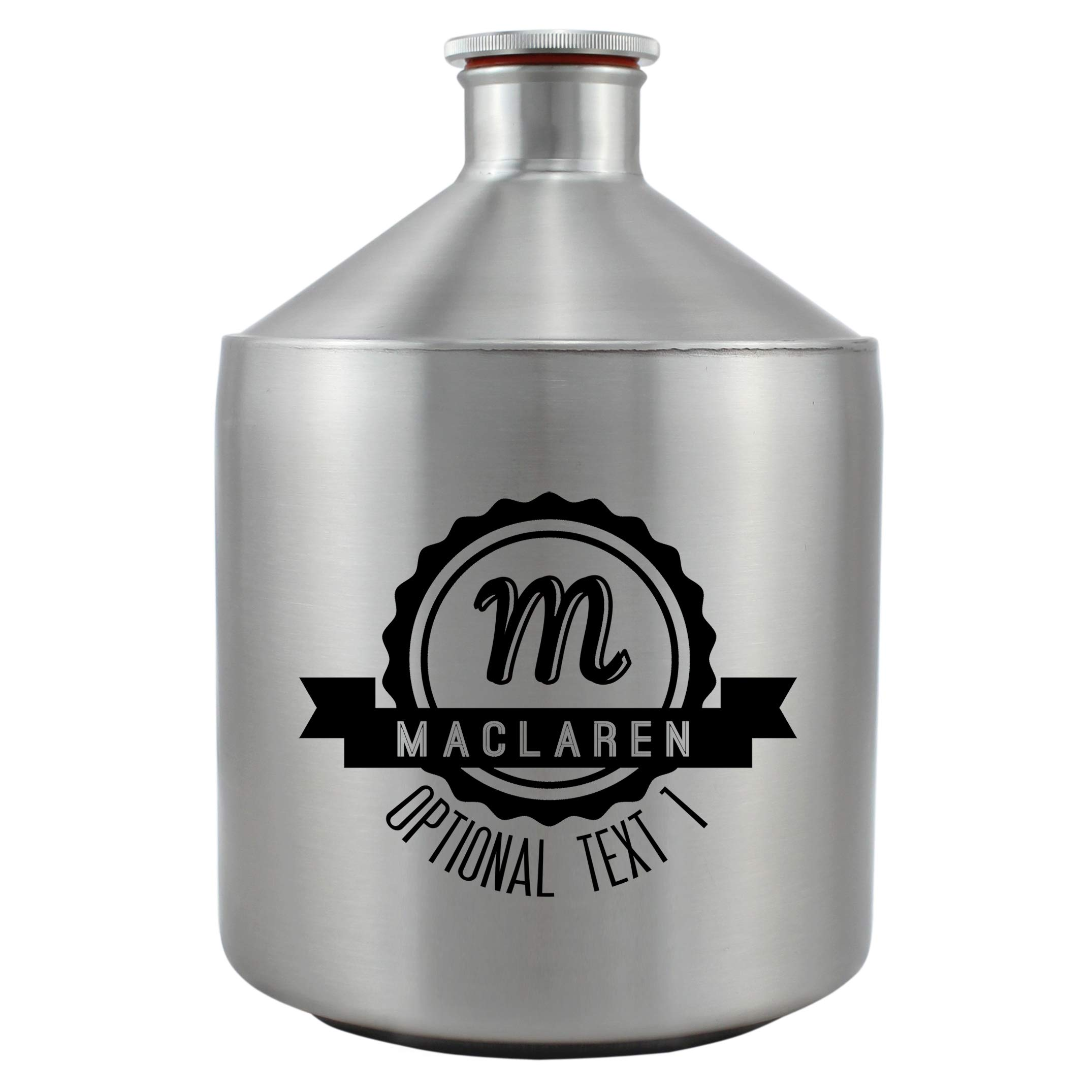 Personalized Etched Monogram 64oz Stainless Steel Mini Keg Growler (Design 1)