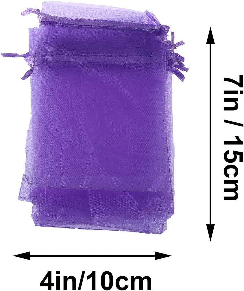 TOYANDONA 100 Pcs Drawstring Bags Exquisite Creative Portable Gift Bags Organza Bags Drawstring Pouches for Birthday Party 100pcs Purple