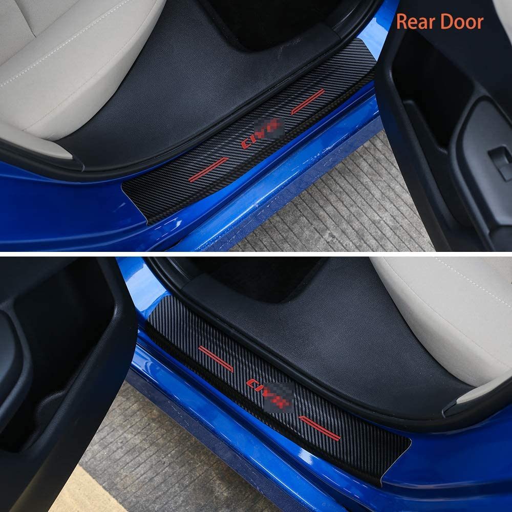 Red Thenice for 10th Gen Civic Door Entry Guard Sticker Carbon Fiber Style Threshold Bar Anti-Dirty Scuff Plate Car Door Sill Protector for Honda Civic