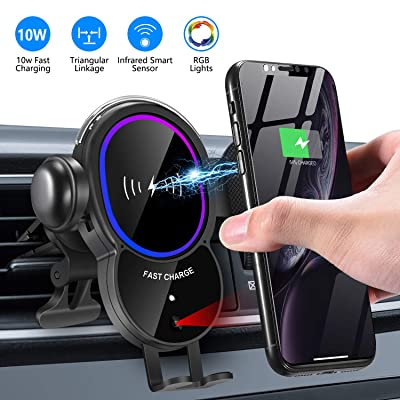 [Upgraded]Wireless Car Charger Mount-Triangle Linkage Automatic Clamping 10W Qi Fast Charging Air Vent Phone Holder,Infrared Sensing Compatible with iPhone 11 Pro Max Xs XR X 8,Samsung S10 S9 Note 10: Home Audio & Theater