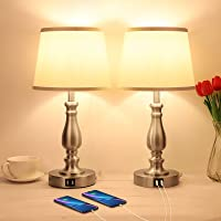 Touch Control Bedside Lamps with 2 USB Charging Ports, 3 Ways Dimmable Nightstand Lamps with A19 6W LED Bulb, USB Modern…