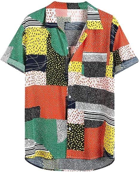 Lomsarsh Camisa de Hombre, Camisa de Manga Corta de Verano con Estampado de Retazos de Color para Hombres, Tops de algodón con Cuello Vuelto con Bolsillo, Camisa Informal de Moda Ligera: Amazon.es: