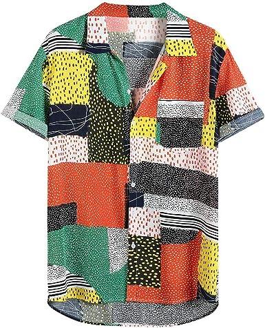 CAOQAO Ropa de Hombre Camisa Hawaiana Verano Manga Corta Ajuste Suelto Transpirable Blusa Estampada Funky 12 Colores: Amazon.es: Ropa y accesorios