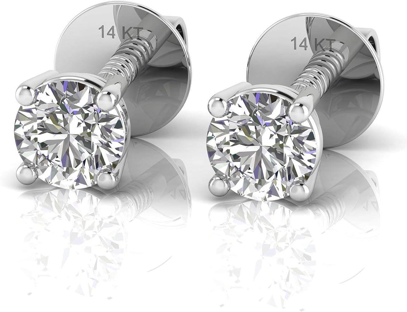 IGI Certified Natural Diamond Stud Screw Back Earrings 14k Gold 0.50Ct /& up
