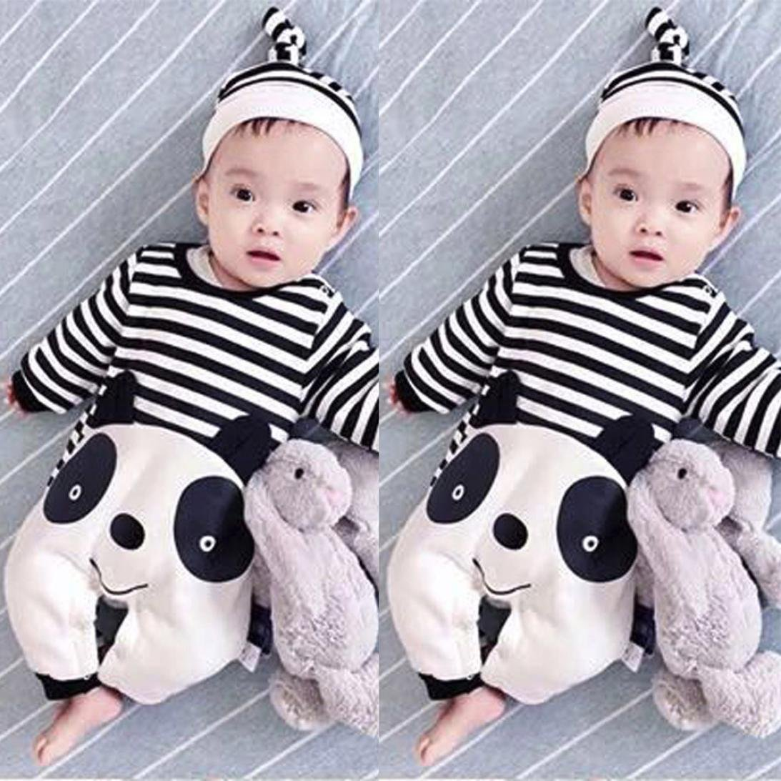 6881ce021f Amazon.com  Newborn Infant Baby Boy Girl Striped panda jumpsuit Romper Hat  with Cotton print Long Sleeve Playsuit  Clothing