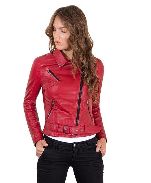 detailed look 80ff2 058ed D'Arienzo - CHIODO • Colore Rosso • Giacca Biker in Pelle con Cintura Nappa  Effetto Liscio