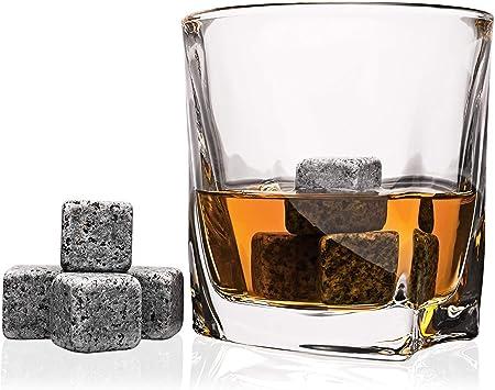 Juego de 6 vasos de cristal Andrew James, para whisky y piedra, 12 piedras de refrigeración de granito y bolsa de almacenamiento de terciopelo