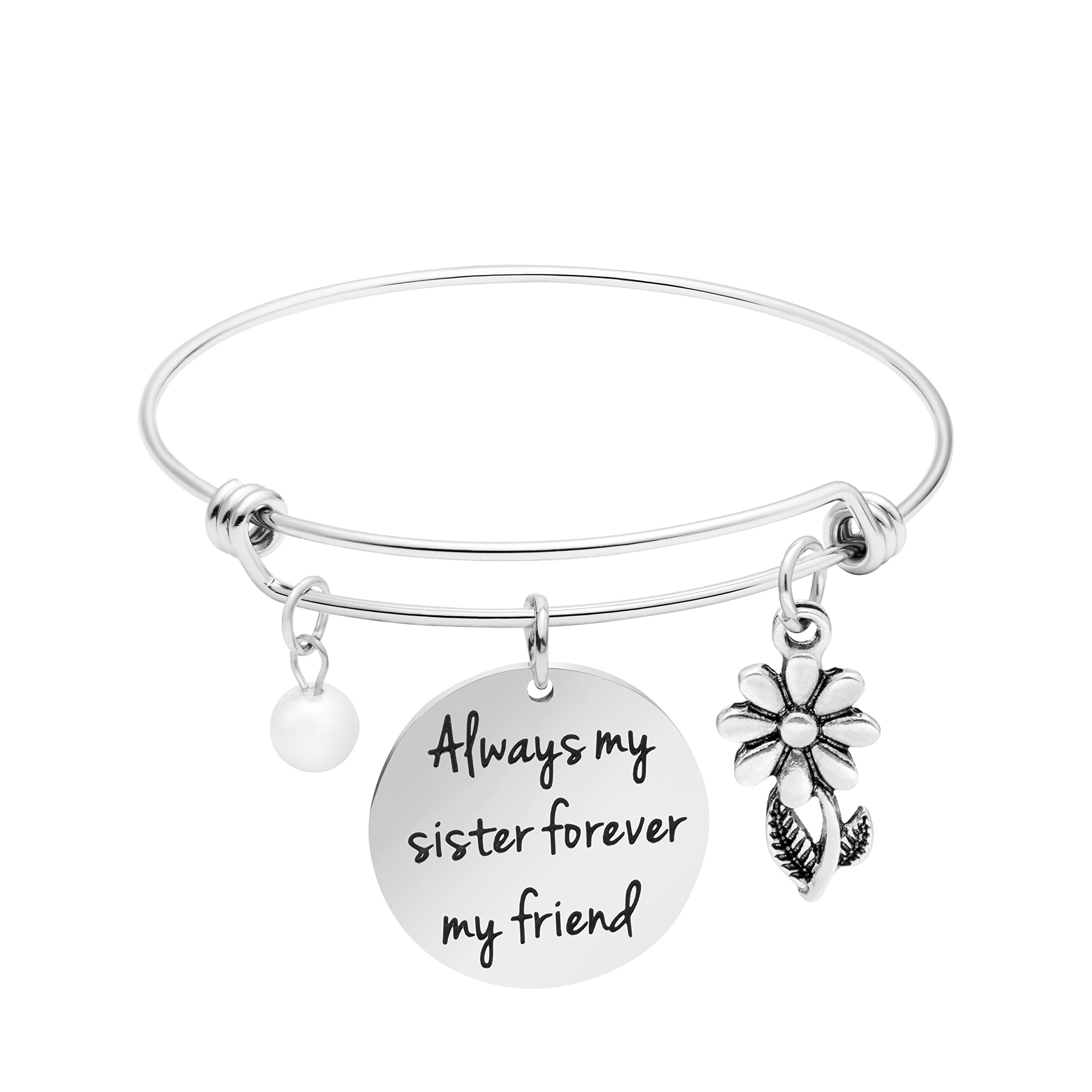Awegift Gift for Sister Bangle Bracelets Stainless Steel Jewelry Wedding Gifts for Her Always My Sister Forever My Friend