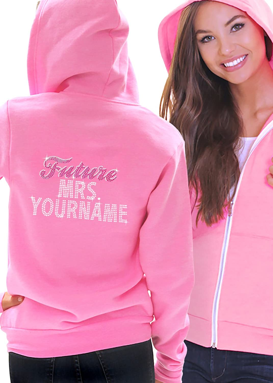 e5c4cec2c chic Future Mrs. Custom Last Name Pink & Gem Bride Rhinestone Women's Zip  Up Hoodie