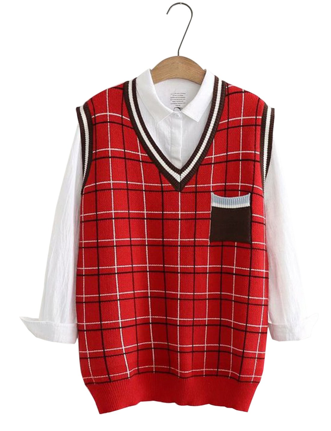 Yimoon Women's School Style Plaid V-Neck Sleeveless Knitted Pullover Sweater Vest (Red, One Size)