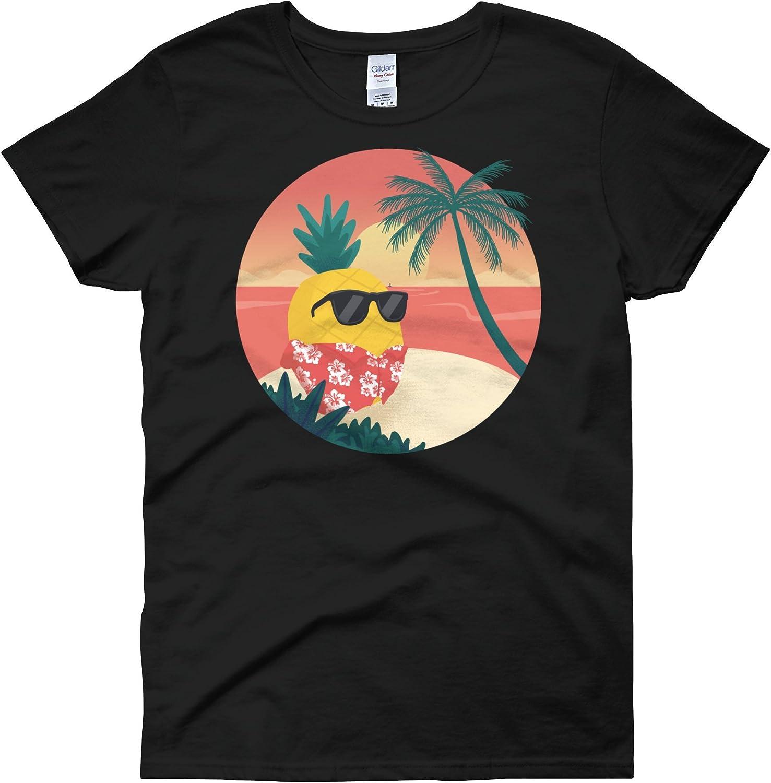 The Jazzy Panda Women's Pineapple T Shirt | Tropical Hawaiian Tee